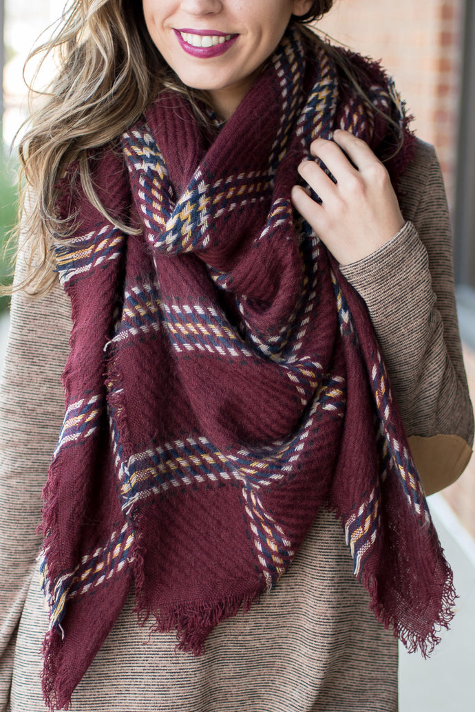Harvest Time Blanket Scarf (Red)