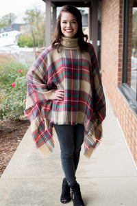Mix & Mingle Poncho (Red)