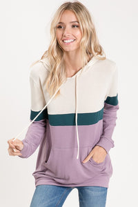 Colorblock Party Hooded Top (Lavender)