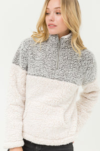 Wind Down Sherpa Pull Over (Grey)