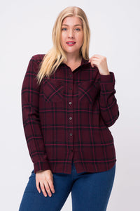 Wine Down Wednesday Button Up Plaid