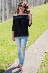 Sun on my Shoulders Blouse (Black)