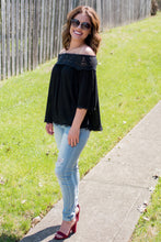 Load image into Gallery viewer, Sun on my Shoulders Blouse (Black)