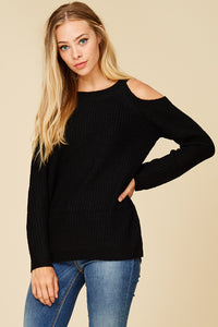 Just For Fun Cold Shoulder Top (Black)