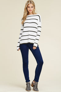 Stripe Out Sweater (White and Olive)