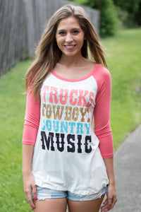 Trucks Cowboys and Country Music Tee