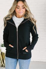 Load image into Gallery viewer, Ampersand Ave™ Full Zip Black Hoodie - Rose Gold Zip (Curvy)