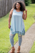 Load image into Gallery viewer, Lace Me Up A-Line Tank (Powder Blue)