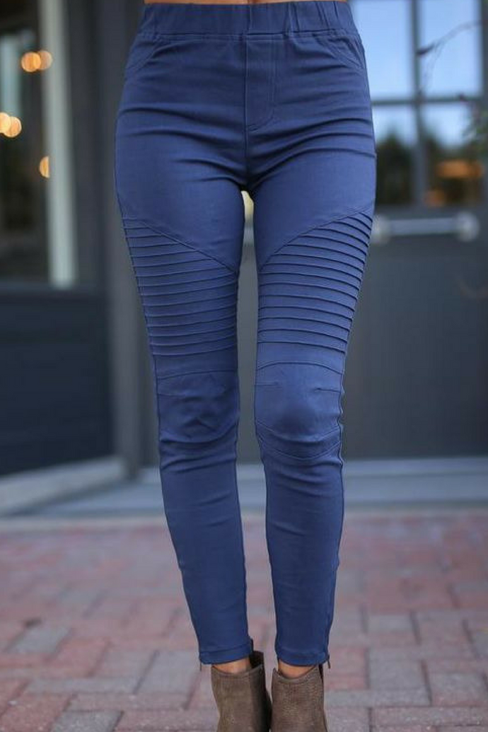 Zipped Up Moto Jeggings (Navy)
