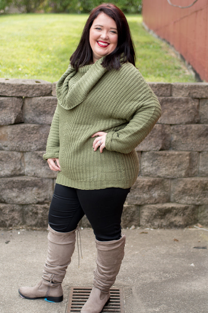 Be Mine Sweater (Olive)(CURVY)