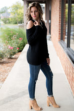 Load image into Gallery viewer, Just For Fun Cold Shoulder Top (Black)