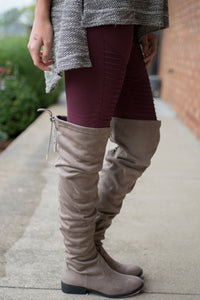 Walk Beside Me Knee High Boots (Taupe)