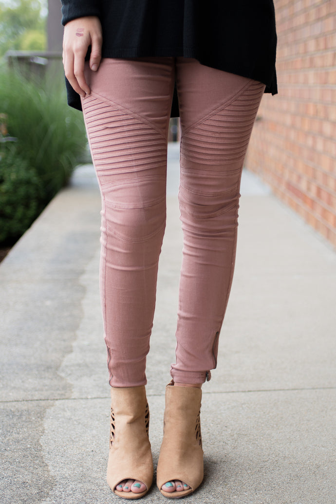 Zipped Up Motto Jeggings (Blush)