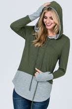 Load image into Gallery viewer, Get in Line Hooded Top (Olive)