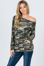 Load image into Gallery viewer, Cool Salute Off Shoulder Camo Top
