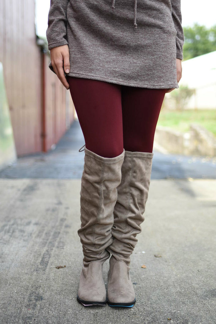 Amazing Fleece Lined Leggings (Burgundy)