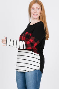 Silent Nights Color Block Top (Curvy)