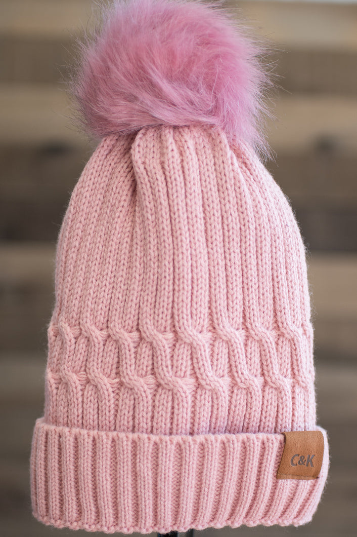 Snowbunny Knitted Beanie (Pink)