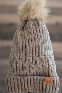 Snowbunny Knitted Beanie (Brown)