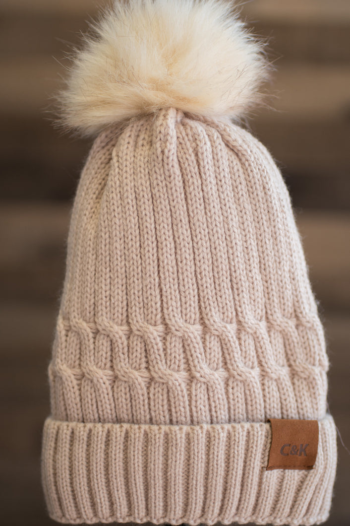 Snowbunny Knitted Beanie (Sand)