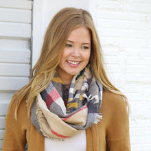 Load image into Gallery viewer, Merry Go Round Infinity Scarf (Tan)
