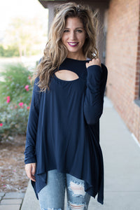 Eye Opener Long Sleeve Top (Navy)
