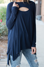 Load image into Gallery viewer, Eye Opener Long Sleeve Top (Navy)