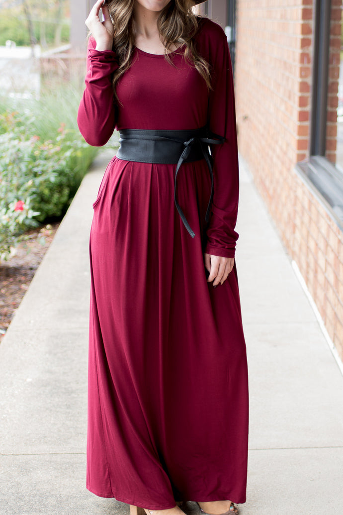 The Perfect Catch Maxi Dress (Burgundy)