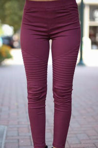 Zipped Up Moto Jeggings (Wine)