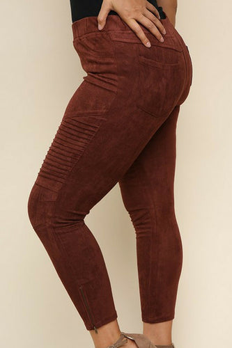 Per-Suede Me Jeggings + (Red Brown)