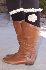 Shabby Chic Boot Cuffs (Black)