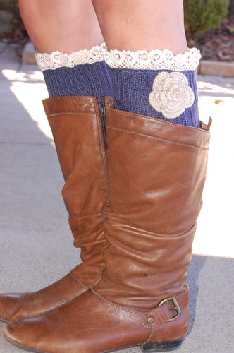 Shabby Chic Boot Cuffs (Navy).