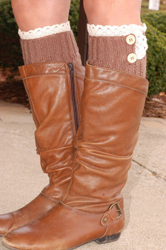 Peek-a-Boot Leg Warmers (Mocha)