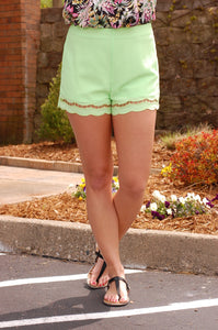 Scalloped Sensation Shorts (Lime)