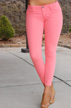 Load image into Gallery viewer, Show Your True Colors Cropped Skinnies (Coral)