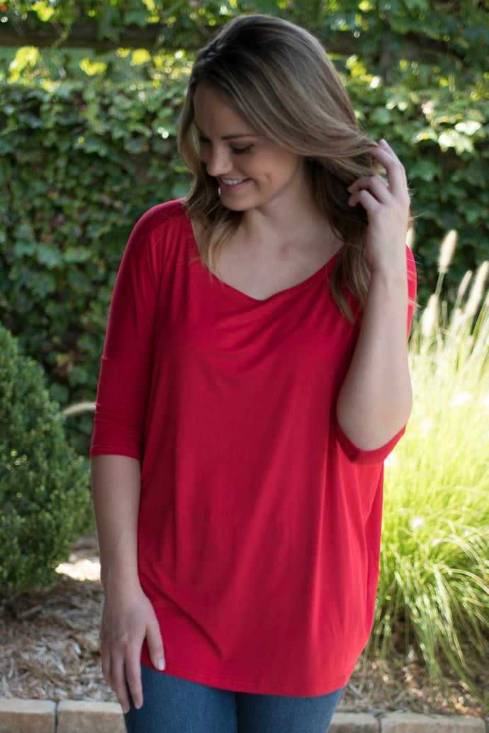 Day Trip  Boat Neck Piko Top (Red)