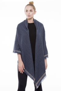 No Hesitations Blanket Scarf (Blue)
