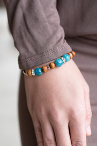 At the Cross Beaded Bracelet (Turquoise and Gold)