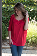 Load image into Gallery viewer, Day Trip  Boat Neck Piko Top (Red)