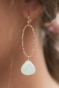 Drop Hints Earrings  (Aqua)