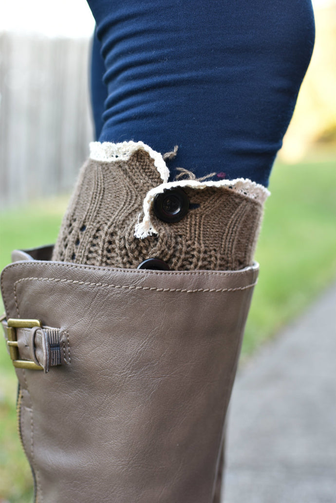 Cute as a Button Boot Cuffs (Brown)