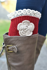 Shabby Chic Boot Cuffs (Red)