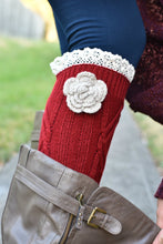 Load image into Gallery viewer, Shabby Chic Boot Cuffs (Red)