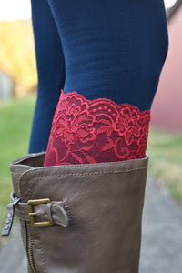 Touch of Lace Boot Toppers (Red)