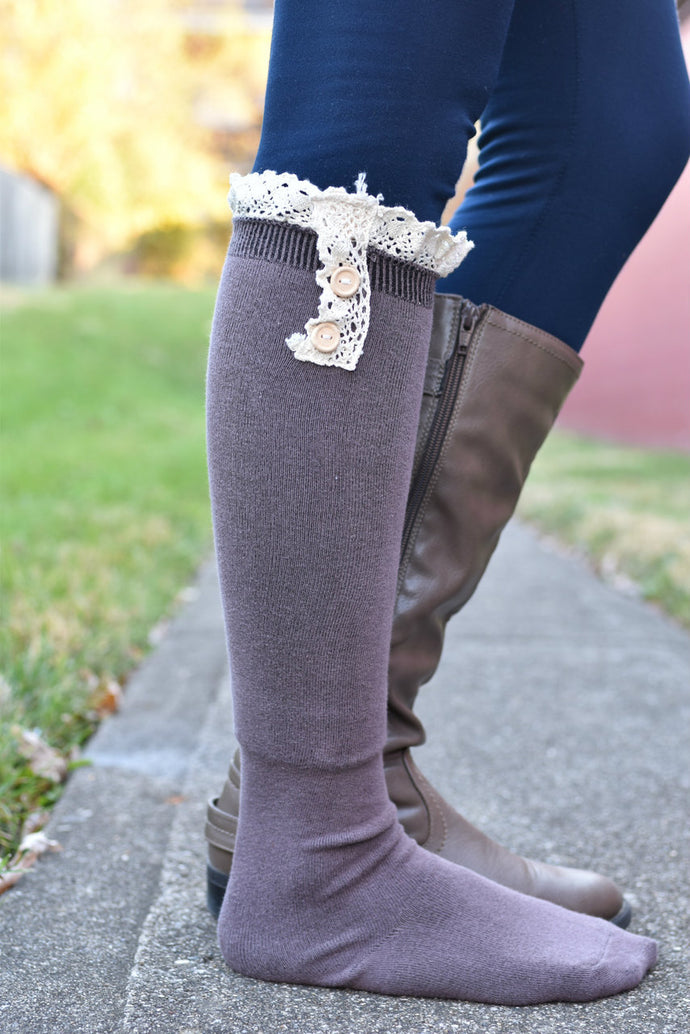 Show and Tell Boot Socks (Mocha)