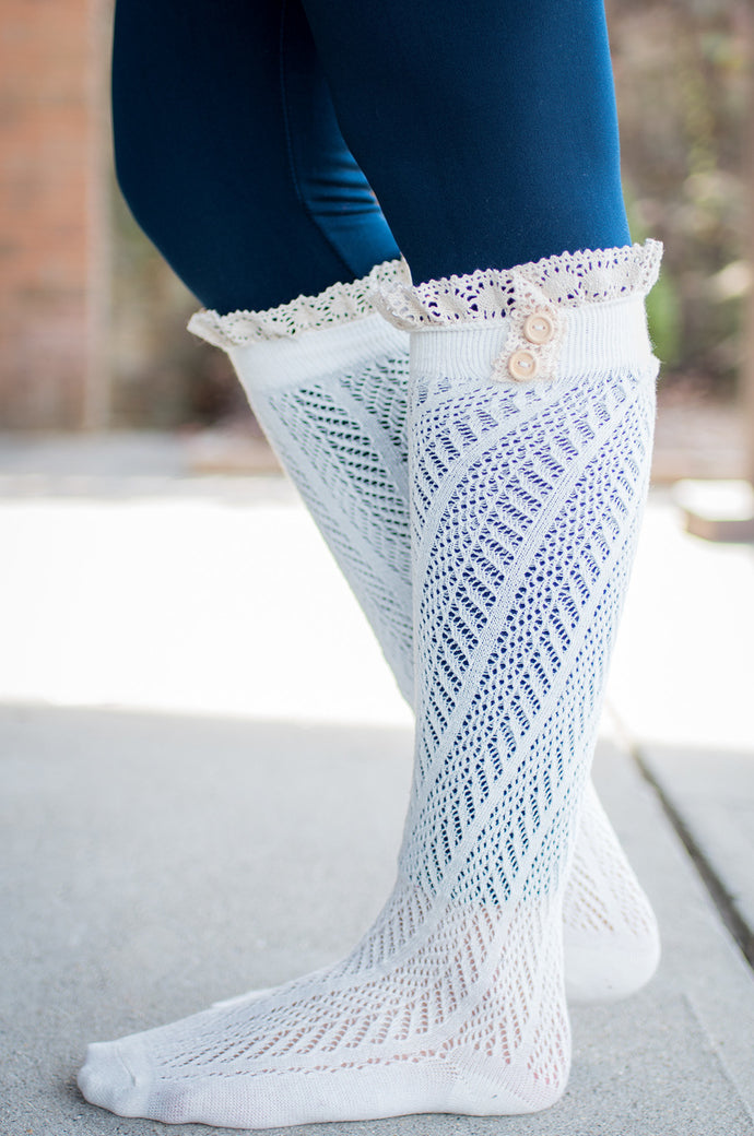 Movin' On Up Boot Socks (Ivory)