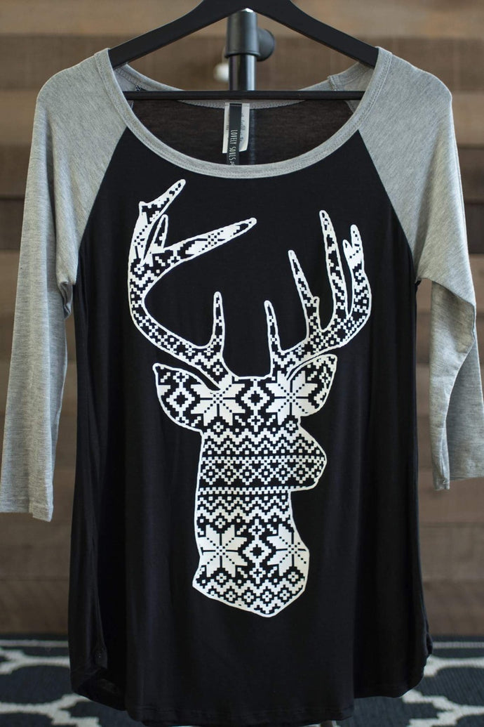 Reindeer Portrait Top (Black)