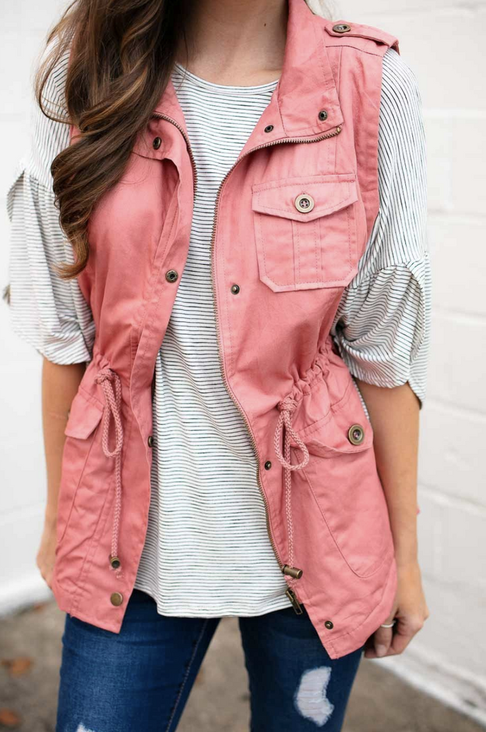 Snuggle Up Fur Lined Vest (Mauve)