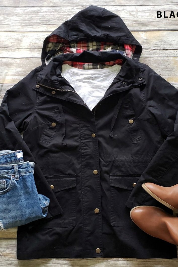 Touch of Plaid Utility Jacket (Black)