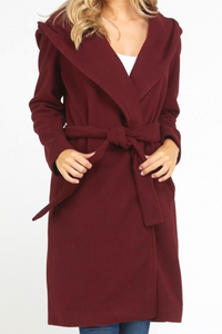 City Life Belted Trench Coat (Wine)